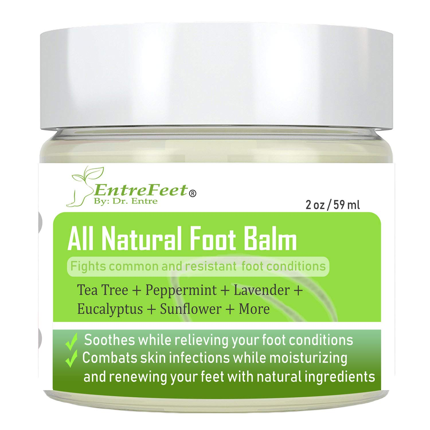 Dr. Entre's Foot Balm: Organic Natural Hydrating Relief for Dry Cracked Heels, Callused Feet, Athletes Foot, Bunions, Fungal Infections, and More - Effective and Soothing - Satisfaction Guaranteed EntreMogul