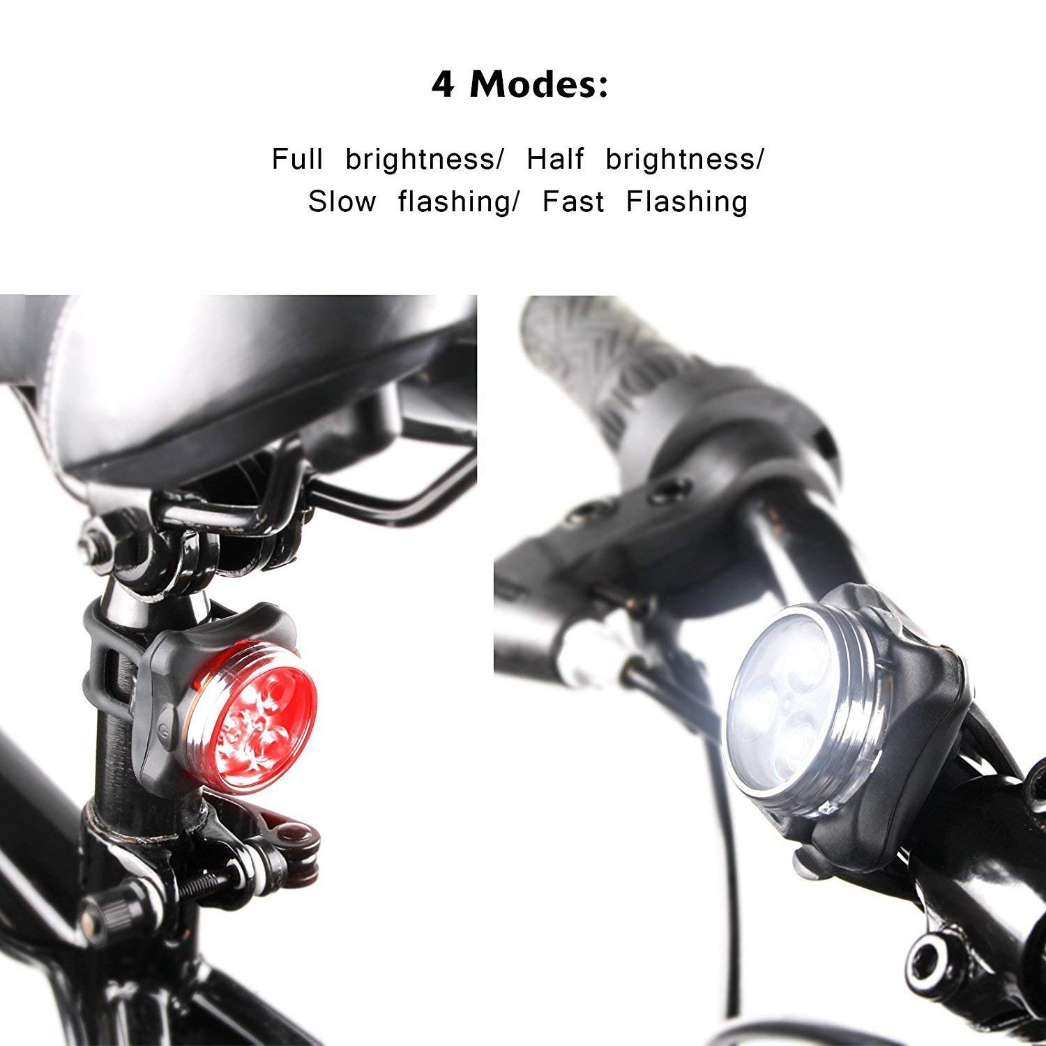 DUBUT21 Super Bright Bicycle Light Set USB Rechargeable Bike Headlight Free Tail Light Waterproof LED Bike Light Easy to Install Cycling Safety Commuter Flashlight Best Mountain Road City Bicycle by DUBUT21 (Image #2)