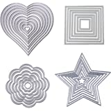 Dies Cut Cutting Die Heart Stitched Square Flower Love Star Nesting Metal Embossing Stencils for DIY Scrapbooking Photo Album Decorative DIY Paper Cards Making Gift Debossing Border 4set (Set 1)
