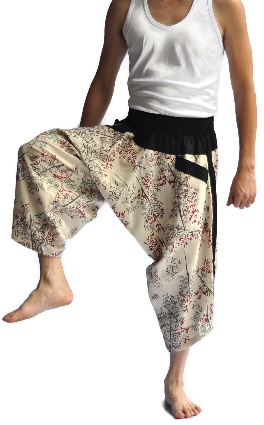 Siam Trendy Men's Japanese Style Pants One Size Two Tone bamboo design off white by Siam Trendy (Image #3)