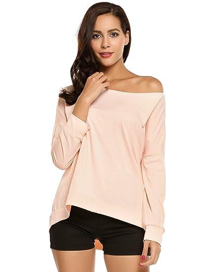 e9115fb331f0f Zeagoo Women s Off Shoulder Blouse Loose Long Sleeve Irregular Hem Top Shirt  Pink S