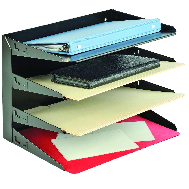 MMF Industries 4-Tier Legal-Size Horizontal Steel Desk Organizer, Black (2644HLBK)