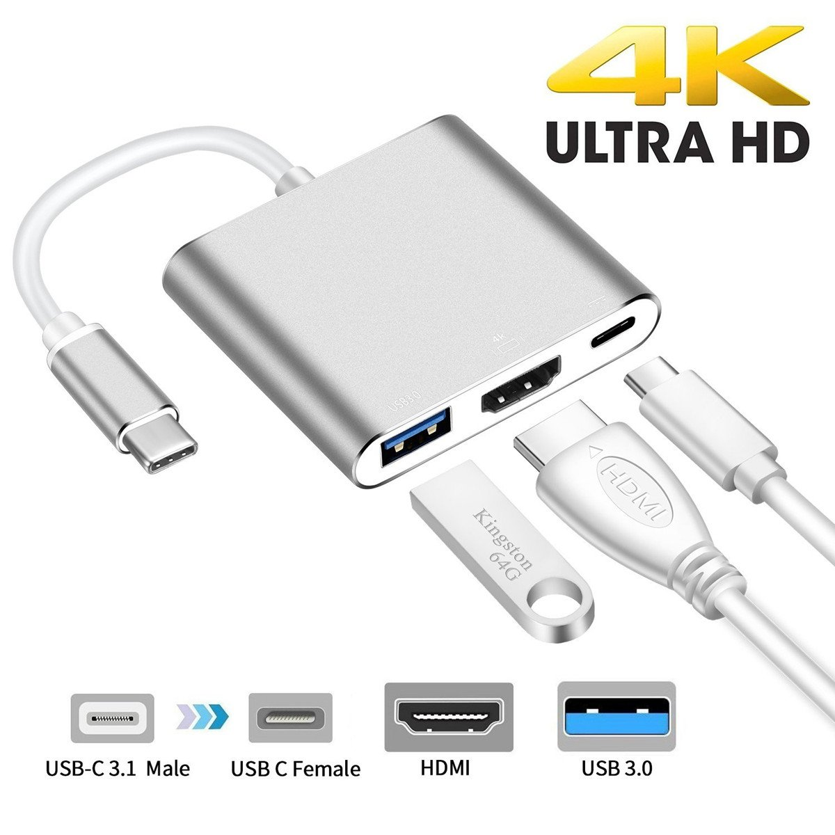 USB C to HDMI Digital Multiport Hub Adapter -321OU Type-C to HDMI 4K Adapter with USB 3.0 & USB-C 3.1 Power Delivery for MacBook12 MacBook Pro13 15 (2016 2017) Google Chromebook Samsung S9/S8 (Silver)
