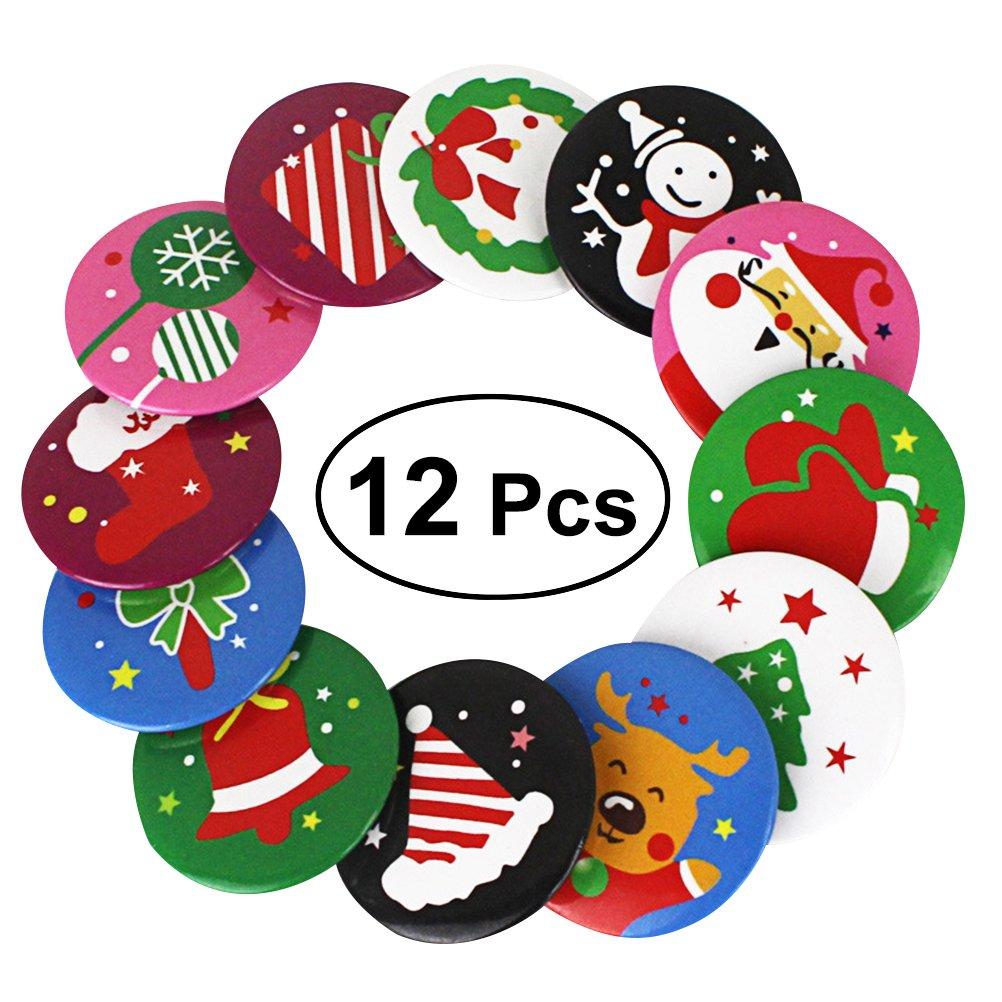 OULII Broches y pernos de la Navidad de los niños 12pcs para la decoración del bolso de la ropa de los cabritos (color mezclado)