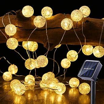 Guirnalda Luces Exterior Solares, BrizLabs 7M 50 LED Cadena de Luces Impermeable 8 Modos de Iluminación para Interiores y Exteriores Jardín, Navidad, Terraza, Patio, Fiestas (Blanco Calido): Amazon.es: Iluminación