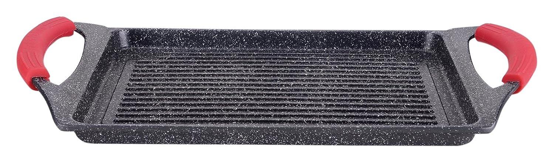 Parrilla para Hacer a la Plancha, con Revestimiento de Piedra, Negro, 46 x 28 x 7 cm, de Euronovità, EN-22141