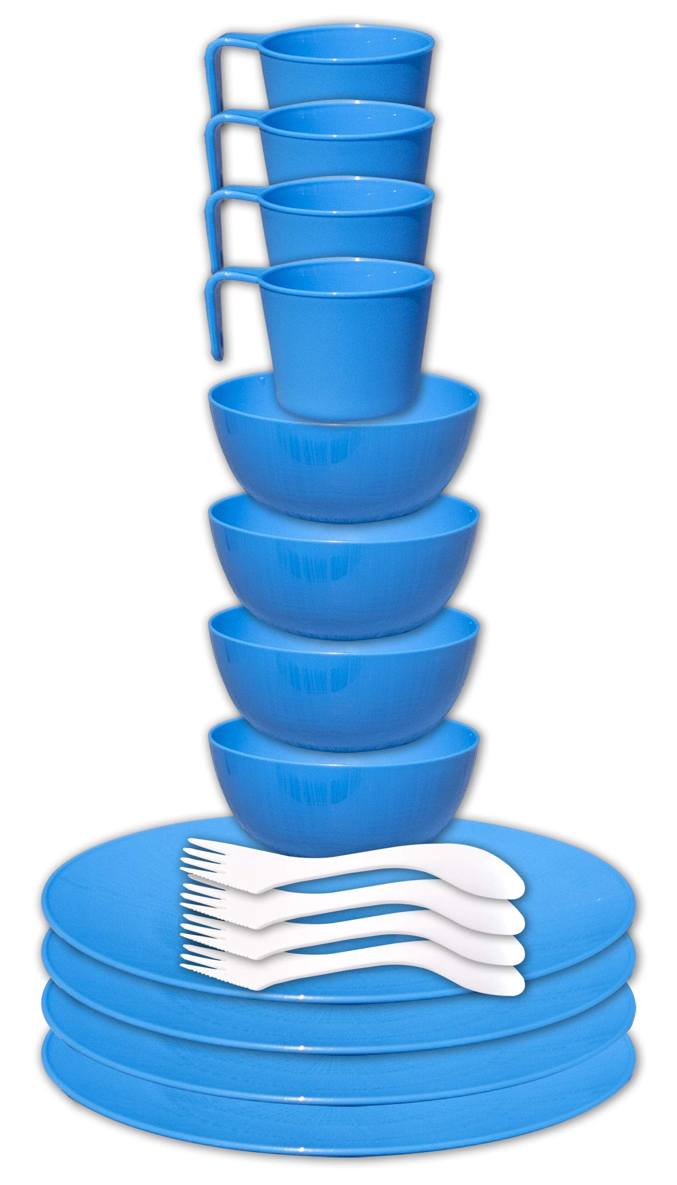 gear4U Camping Tableware Sets - Outdoor Dishes with Mesh Carry Bag - BPA Free - Plate, Bowl, Cup and Utensil for Hiking, Camping, Backpacking, Travel and Outdoor Survival - Blue 4 Person Set by gear4U