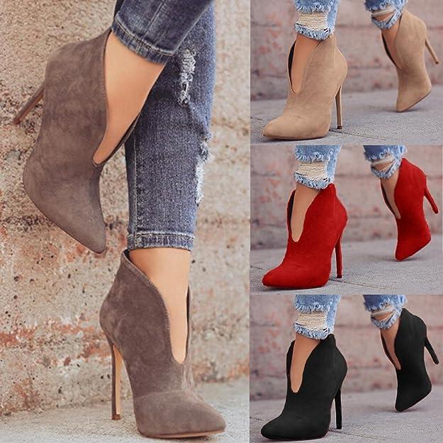 Minetom Donna Stivali Autunno Moda Casual Scarpe Scamosciato Tacco A Spillo  Tacchi Alti Ankle Boots Stivaletti Elegante High Heels 12 CM  Amazon.it   Scarpe ... a00e597dd71