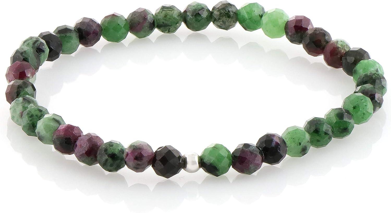 Pulsera de zoisita de rubí natural, pulsera elástica Ruby, pulsera de cuentas de zoisita de rubí, pulsera de piedras preciosas, regalo de joyería de Zoisite de rubí