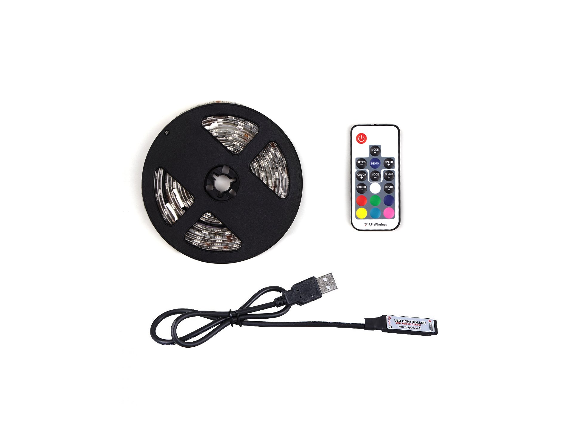 WYNK LED Strip Lights with Remote USB Back Light Fixture DIY 5050RGB Flexible 3.4M 104LED Color Changing Full Kit + 4 Connector + Remote Controller for Computer/TV/Home/Kitchen/Christmas Decorative by WYNK (Image #6)