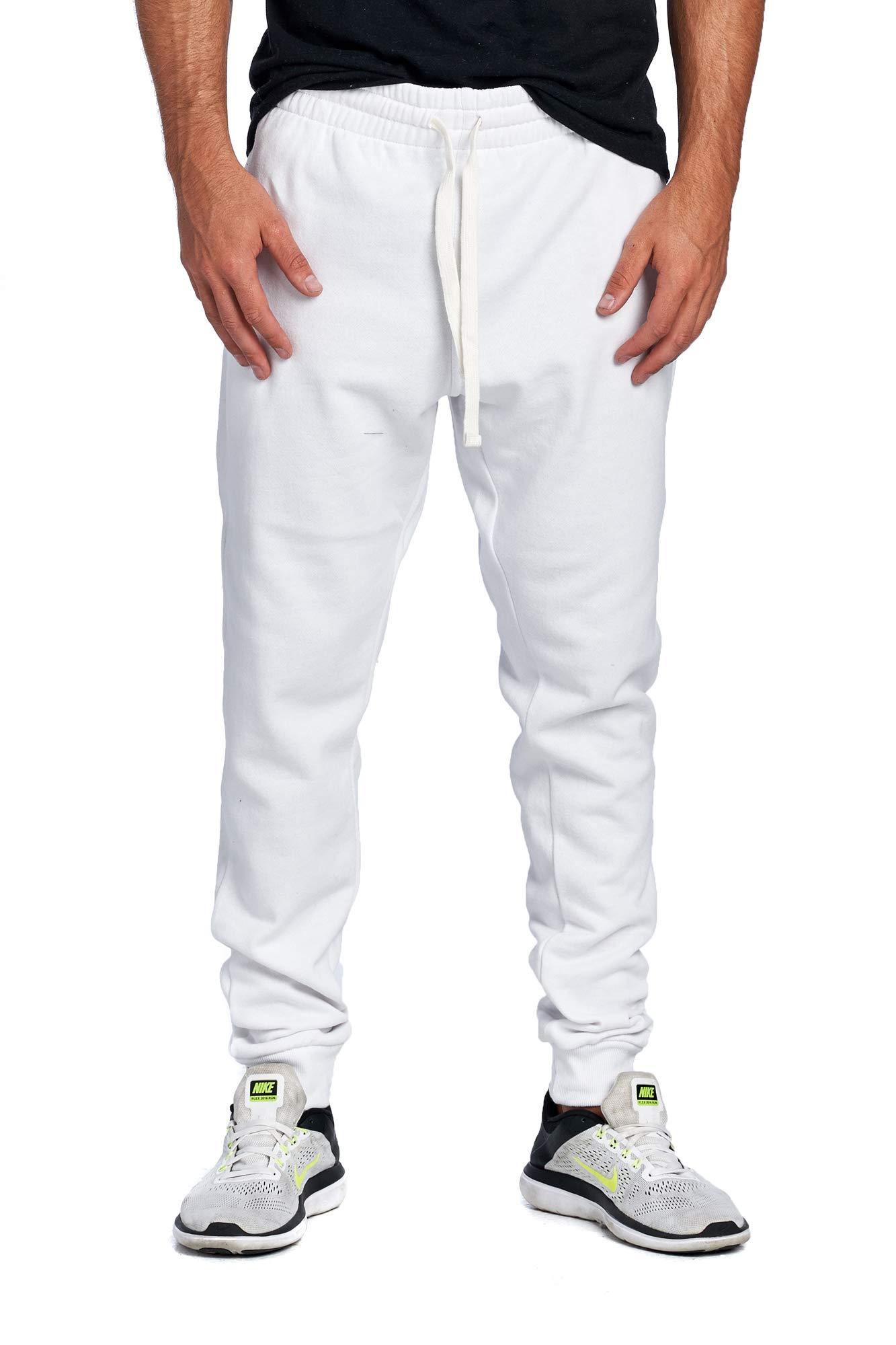 ProGo Men's Casual Jogger Sweatpants Basic Fleece Marled Jogger Pant Elastic Waist (Medium, White) by PROGO USA
