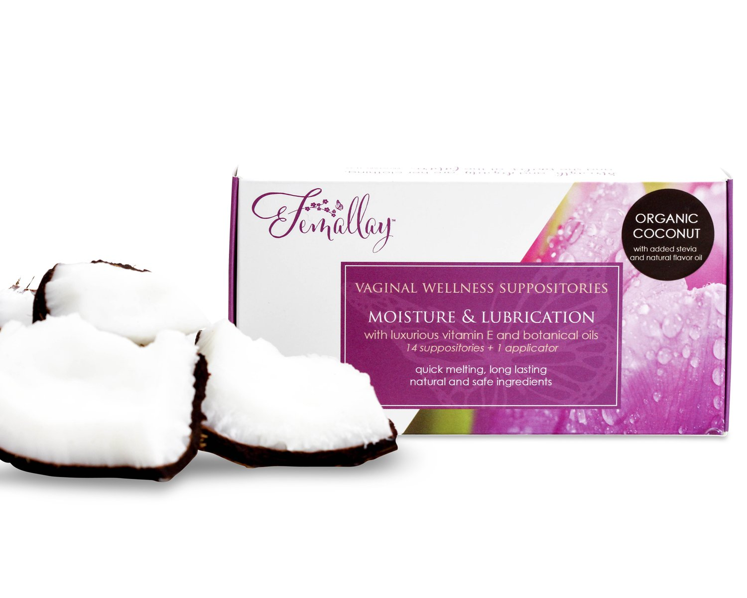 Femallay Creamy Coconut Vitamin E Vaginal Suppositories for Personal Moisturizing & Wellness with Organic Coconut Oil + Vitamin E + Other Botanical Ingredients, Box of 14 + Vaginal Applicator