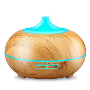 URPOWER 300ml Wood Grain Ultrasonic Cool Mist Whisper-Quiet Humidifier