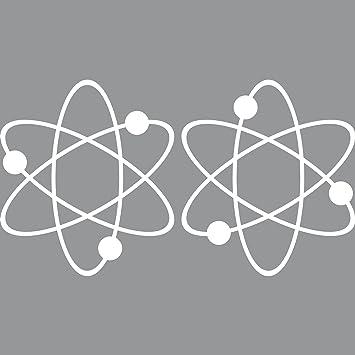 2 Aufkleber Tattoo 17cm Atom Big Bang Theory Zeichen Symbol Auto Tür