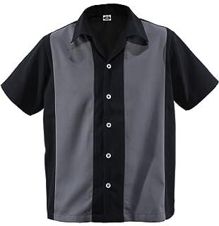 f53cfc7499fade Herren Bowling Shirt Worker Hemd Rockabilly Two Tone Gabardine Lounge  Fifties Vintage Retro Double Panel D600