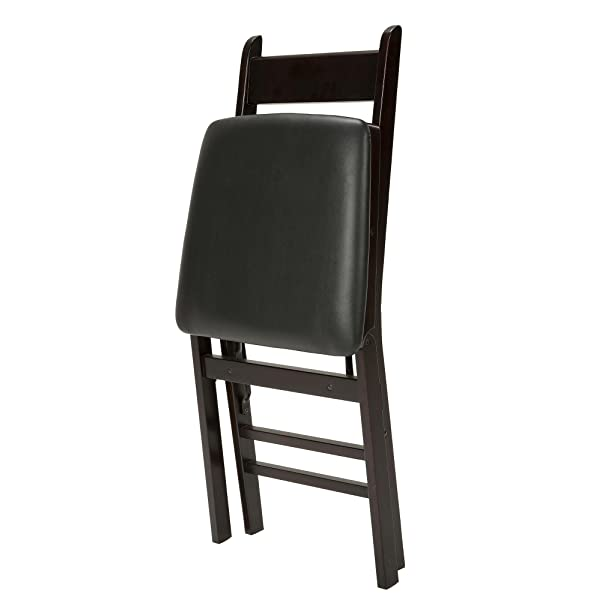 Cosco Espresso Wood Folding Chair with vinyl seat & Ladder Back (2-pack)