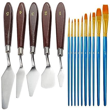 5 piezas cuchillos paleta con 10 piezas pinceles, FineGood espátula acero inoxidable pintura al óleo Cuchillo metal con mango madera y cepillos pelo ...