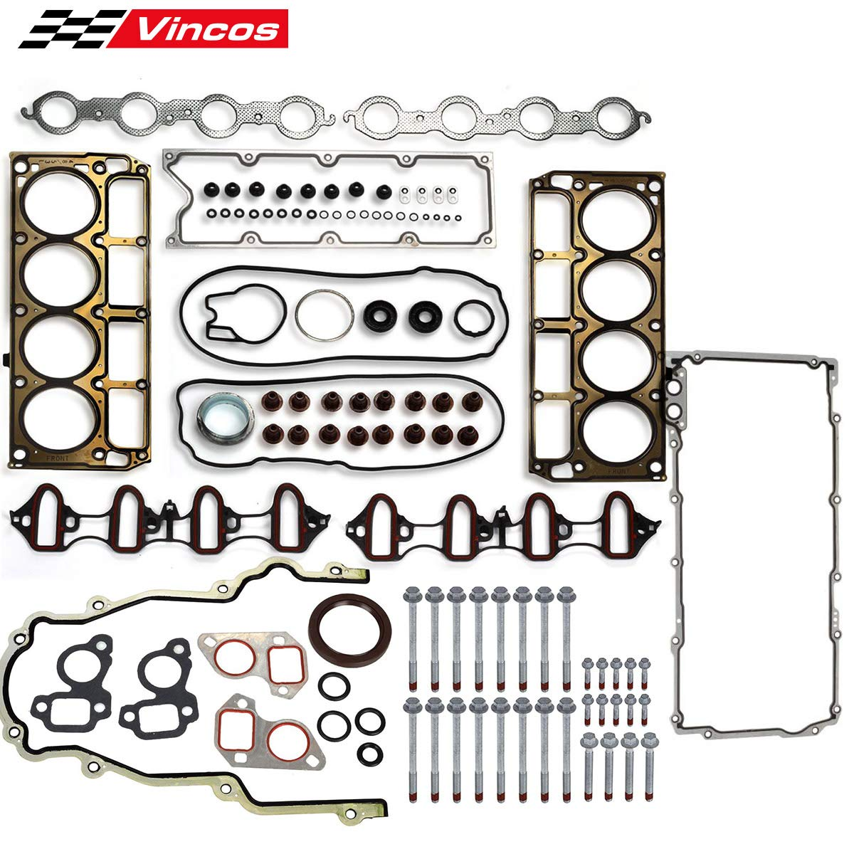 Vincos MLS Full Cylinder Engine Gasket Set w/Head bolts Compatible with chevy silverado tahoe gmc sierra 1500 yukon envoy buick trailblazer 4.8L 5.3L V8