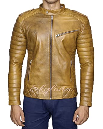 44b0ff012 Mens Leather Jackets Motorcycle Bomber Biker Real Lambskin Leather ...