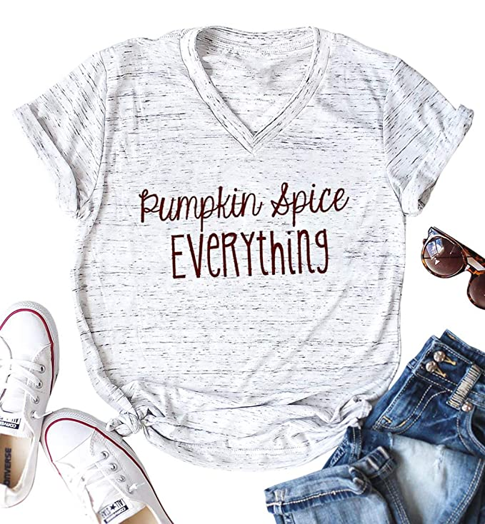 Pumpkin Spice Everything Funny T-Shirt Women Casual Thanksgiving Pumpkin Blouse Tee Top Size M (White)