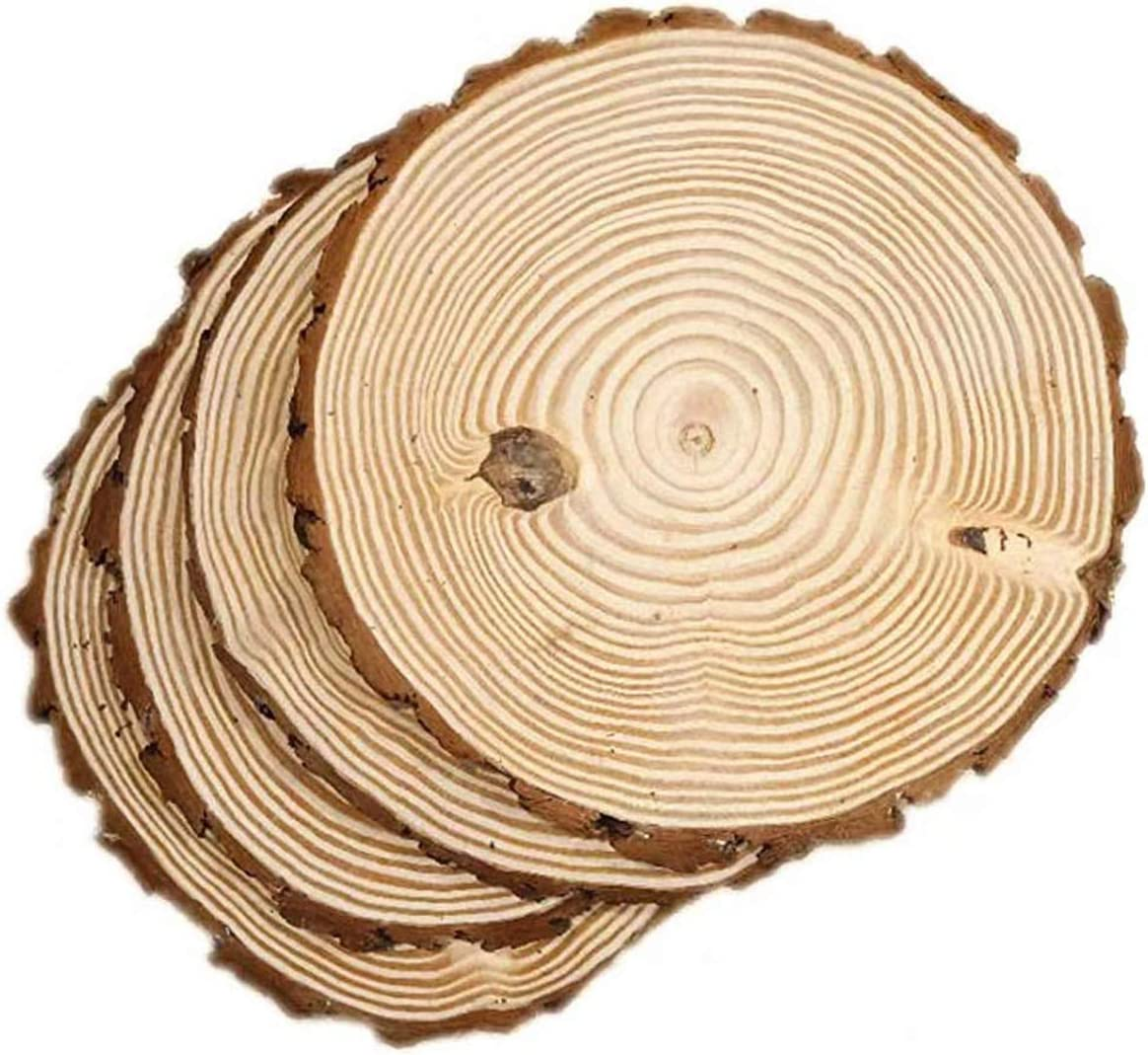 "4 Pack Round Rustic Woods Slices, 10""-12"", Unfinished Wood, Great for Weddings Centerpieces, Crafts"