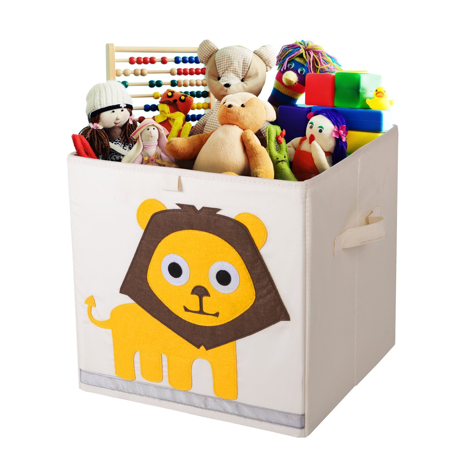 Storage Bins Foldable Cube Box - MURTOO - Eco Friendly Fabric Storage Cubes Origanizer for Kids Toys Cloth Fit IKEA Shelves, 13 inch (Lion)