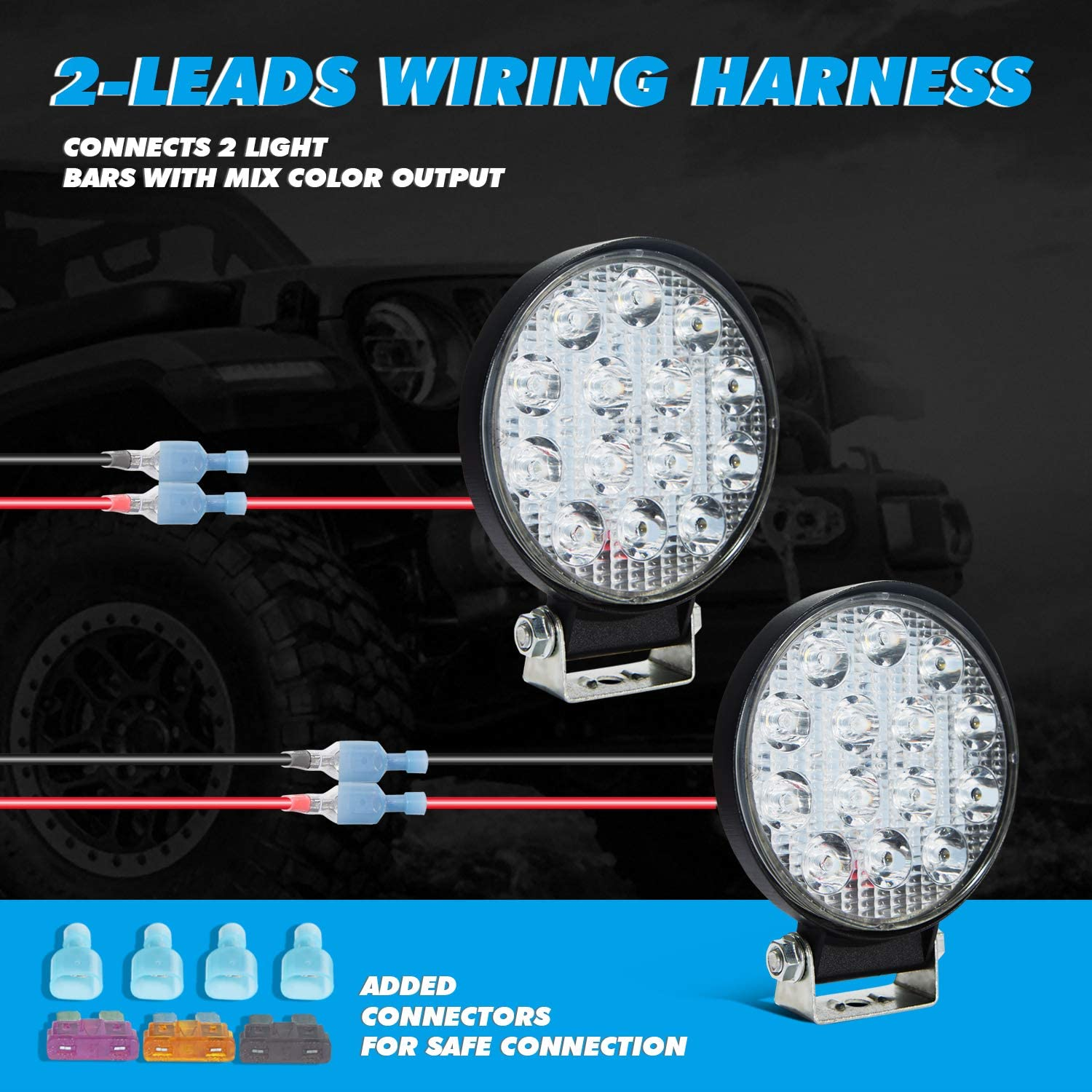 Parleto LED Light Bar Wiring Harness Kit 12V with Dual Switches Power Relay Blade Fuse for Off Road Lights LED Work Light with Multi-Modes 2 LEADS