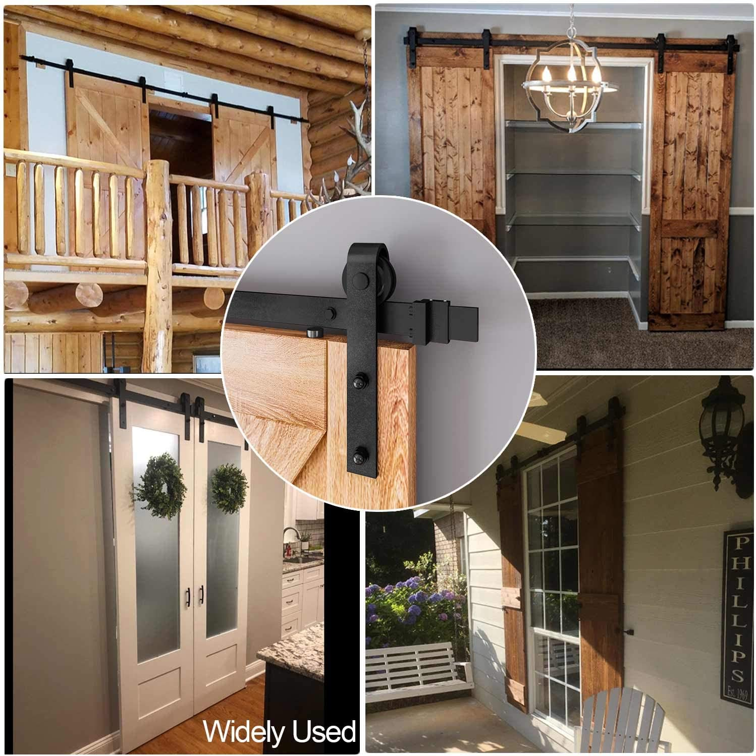 6FT Track Single Door Kit EaseLife 6 FT Heavy Duty Sliding Barn Door Hardware Track Kit,Ultra Hard Sturdy,Slide Smoothly Quietly,Easy Install,Fit 30~36 Wide Door
