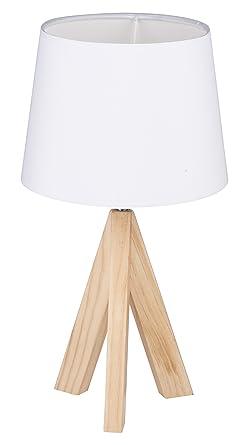 Grundig - Lámpara de mesa con pie de madera y plástico ...