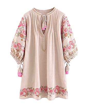 7d43775763 R.Vivimos Women s Autumn 3 4 Sleeve Cotton Linen Floral Embroidery Casual  Tunic Dresses at Amazon Women s Clothing store