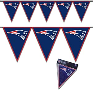 amscan New England Patriots Team Logo Pennant Banner - 1 pc, Blue/Red/White, 12 ft