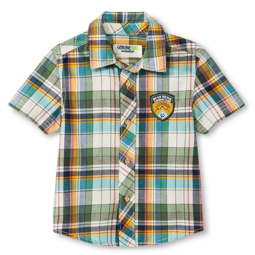 OshKosh Toddler Boys Plaid Short Sleeve Button Down Shirt