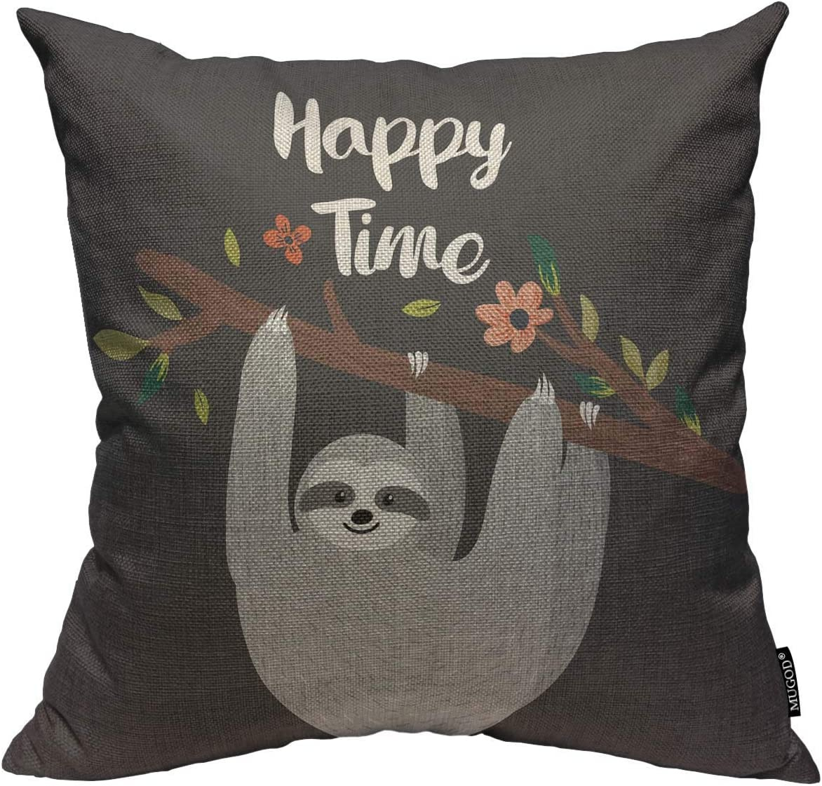 Mugod Grey Sloth Throw Pillow Cover Happy Time Design with Funny Sloth Hanging on The Tree Decorative Square Pillow Case for Home Bedroom Living Room Cushion Cover 18x18 Inch