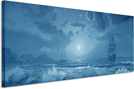 Sinus Art 150 X 50 Cm Couleur Bleu Pétrole Fresque Murale
