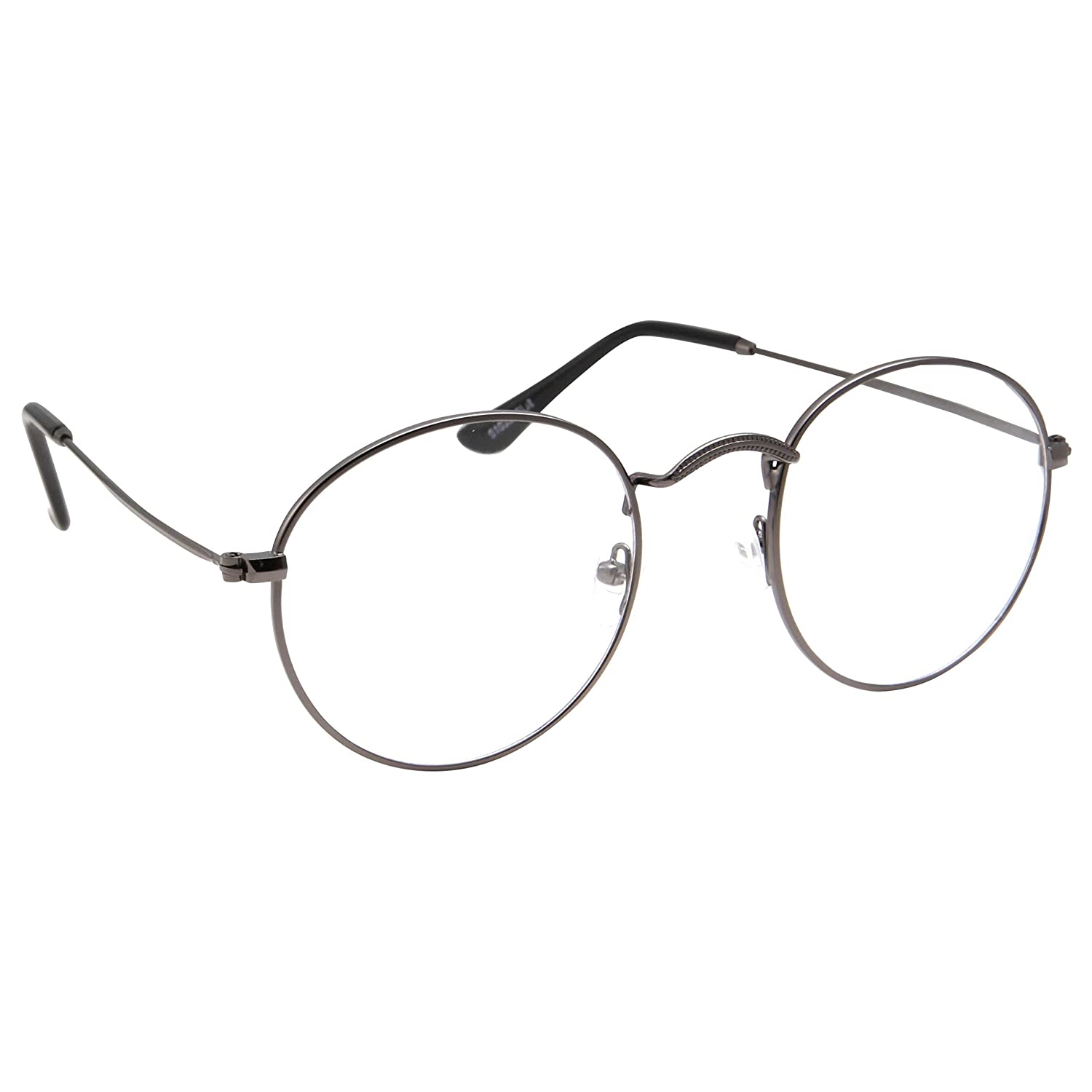 160002b26b1 Amazon.com  Retro Round Clear Lens Glasses Metal Frame - Gunmetal  Clothing