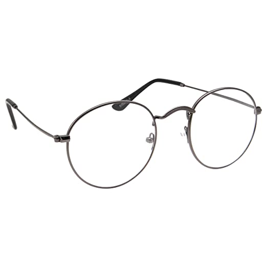 e728825b2a Amazon.com  Retro Round Clear Lens Glasses Metal Frame - Gunmetal ...