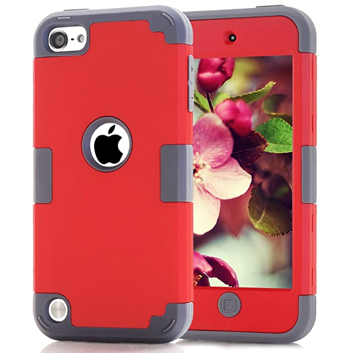 Case for iPod 6 Cases for iPod Touch 6th Generation Case for iPod 5 Cases, Dual Layered 3 in 1 Hard PC Case Silicone Shockproof Heavy Duty Case for Apple iPod Touch 6th Generation (red+Gray)