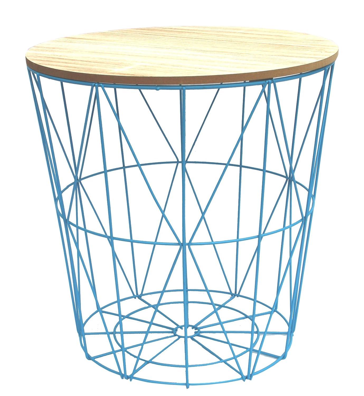 Mid Blau Metall Draht klein Nachttisch, gelegentlichen, Lampe Tisch ...