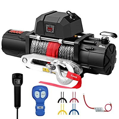 ZEAK 13000 lb. Premium Electric Winch 12V Waterproof Synthetic Rope, Wireless Remote, for Jeep Wrangler Truck: Home Improvement