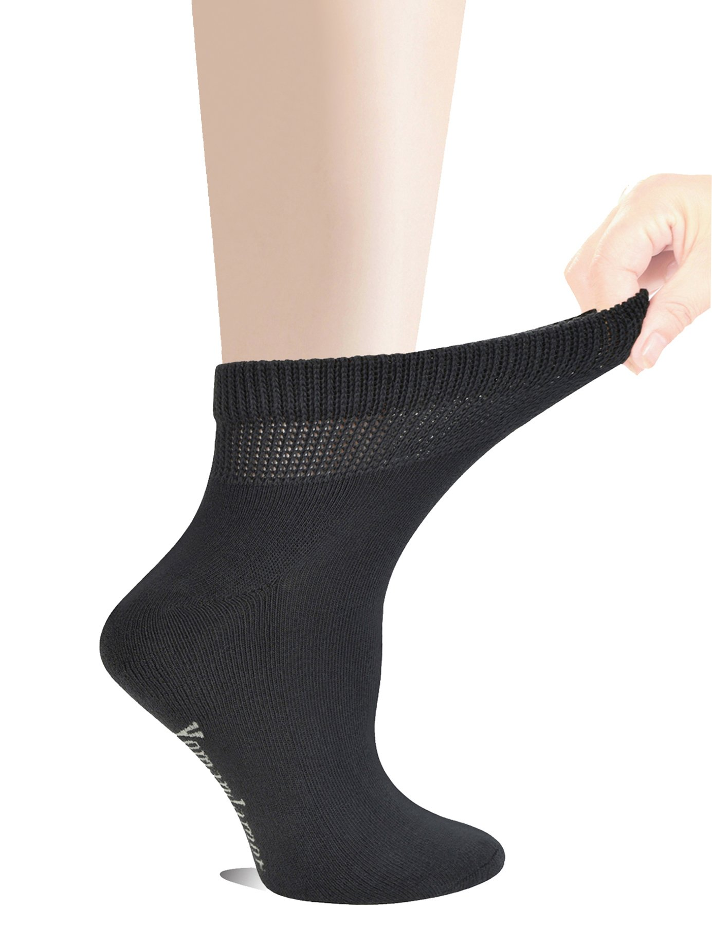 7cb800acf Yomandamor Women s 5 Pairs Non-Binding Cotton Ankle Diabetic Dress Socks  with Seamless Toe