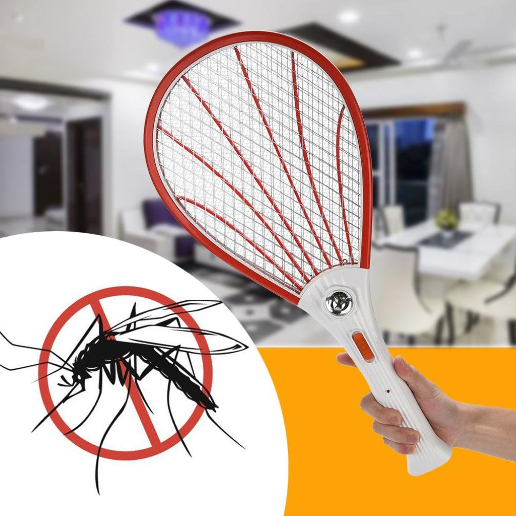Electric Bug Zapper Fly Swatter Zap,Chartsea Rechargeable LED Electric Fly Mosquito Swatter Bug Zapper Racket Insect Killer (Orange)