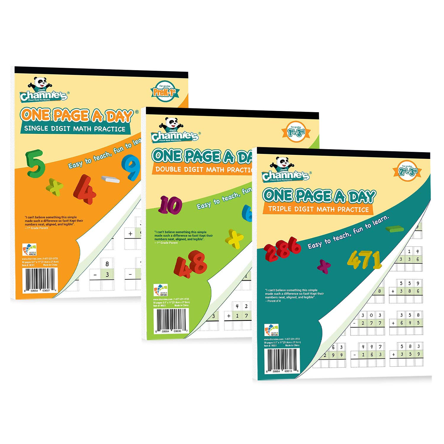 Channie's One Page A Day Single, Double, Triple Digit Math Practice Worksheets 3 Pack! Grades 2-4th Size 8.5'' x 11'' by Channie's