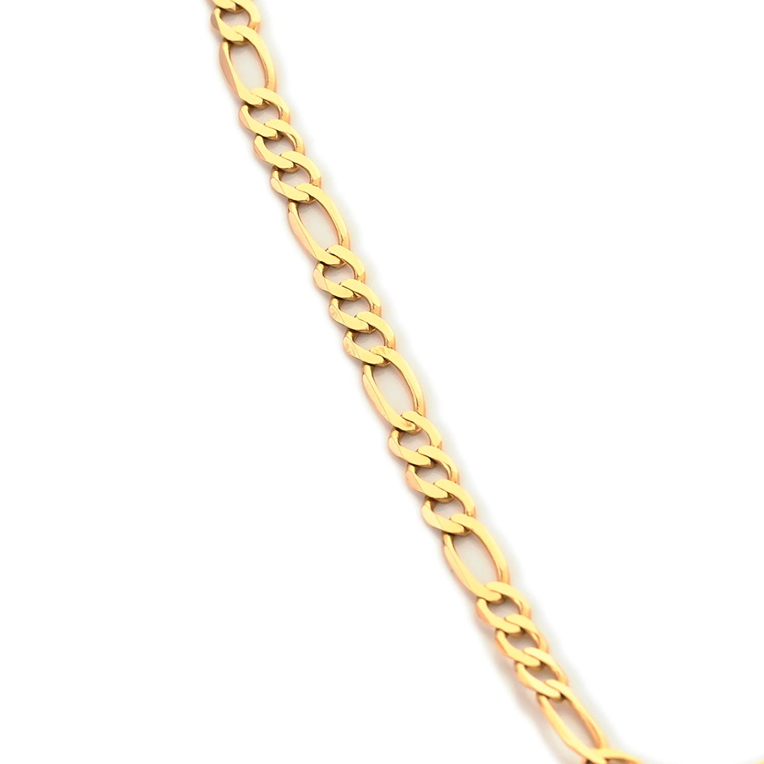 Solid 9ct Gold Diamond Cut Figaro Chain Necklace Fathers Day Guaranteed Weight 1/4oz 18in/45cm Width 4.45mm V4rDMZB