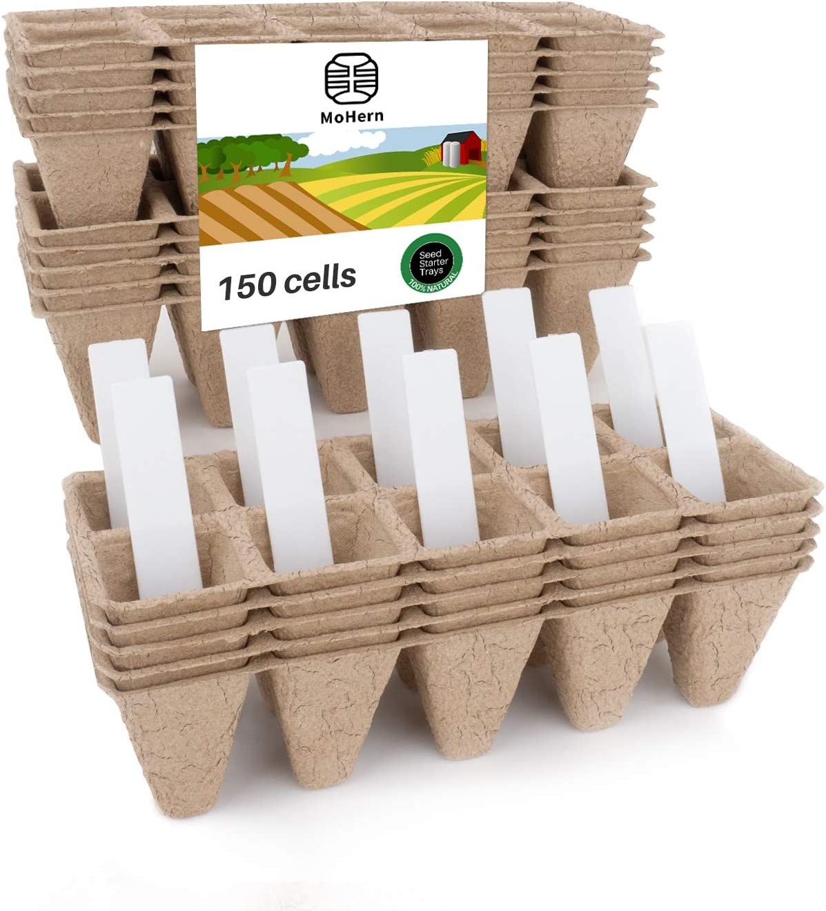 Seed Starter Tray Kit, Peat Pots for Seedlings Packs of 15x10 Cell Organic Biodegradable Plant Starter Trays for Vegetable & Flower, Indoor/Outdoor, with 10 Plastic Plant Labels by MoHern