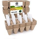 Seed Starter Tray Kit, Peat Pots for Seedlings Packs of 15x10 Cell Organic Biodegradable Plant Starter Trays for Vegetable &