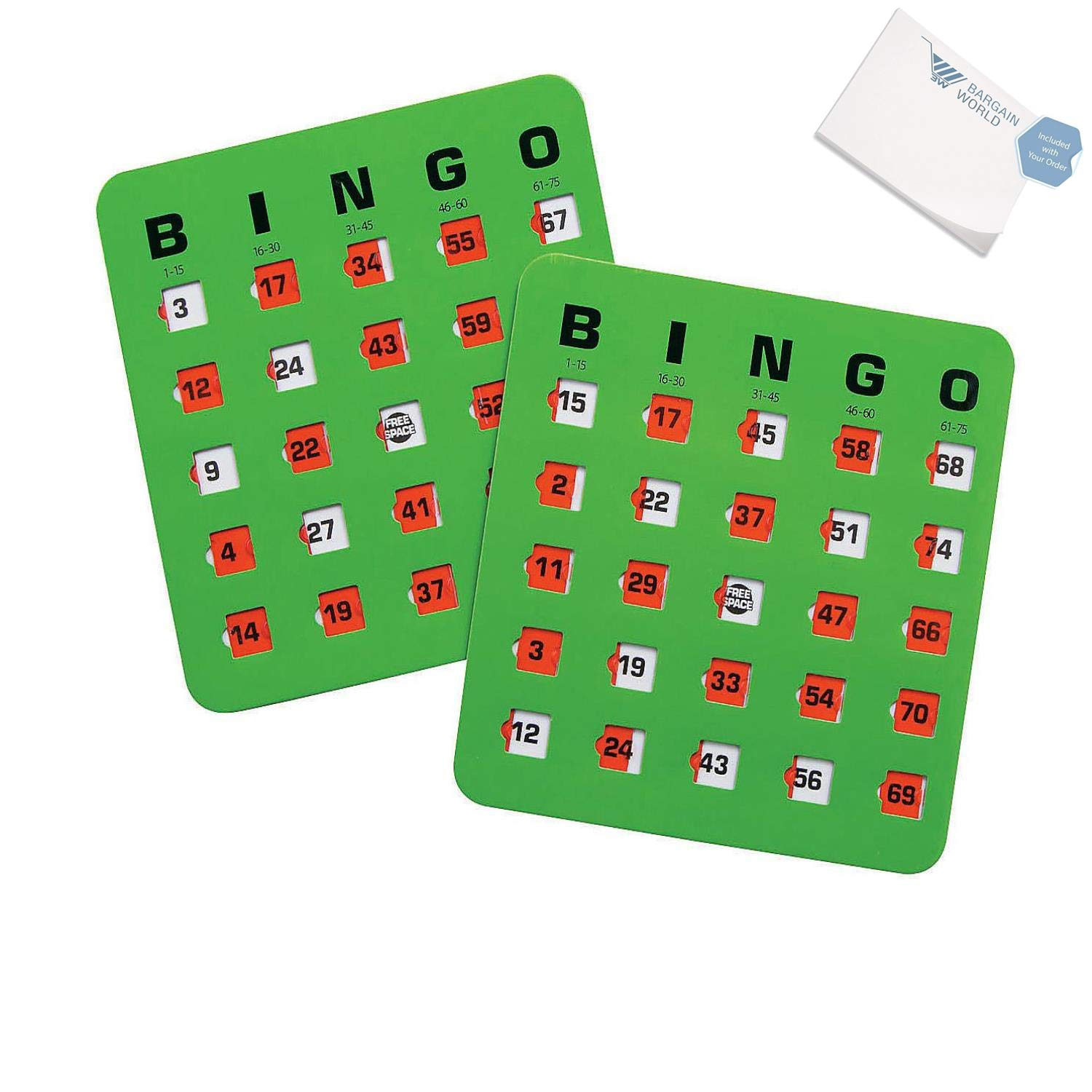 Bargain World Cardboard Automatic Bingo Cards (With Sticky Notes)