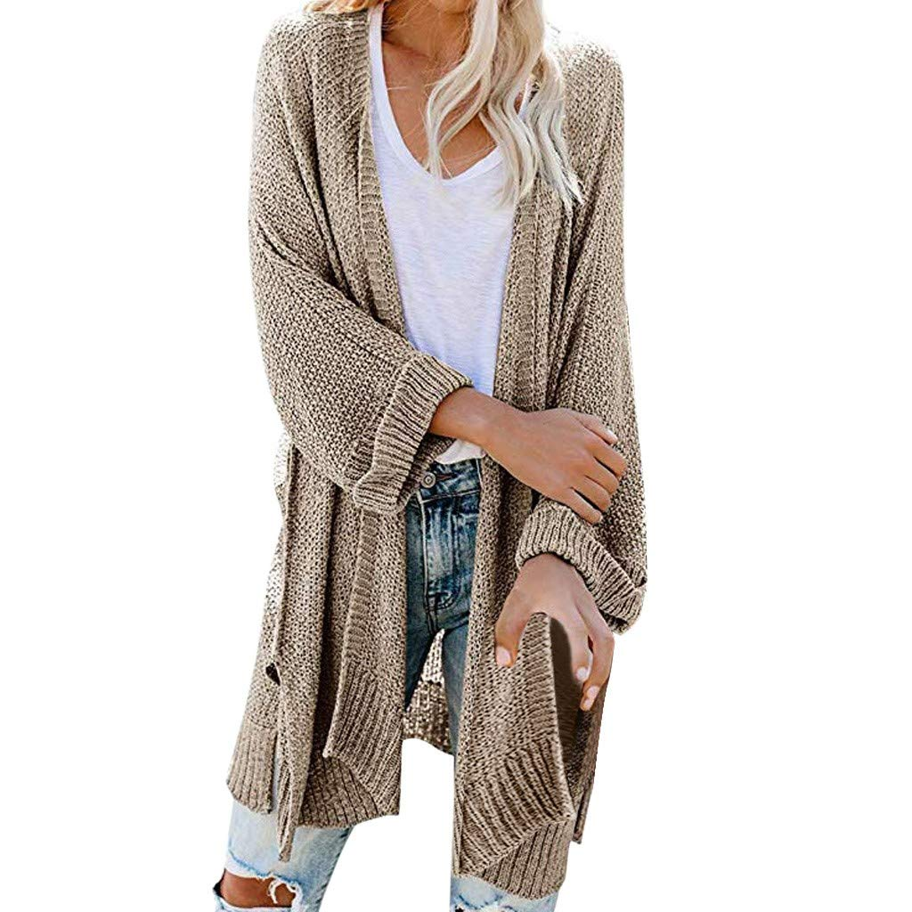 SturrlyWomen's Casual Open Front Long Sleeve Knit Cardigan Sweater Coat with Pockets Khaki by Sturrly