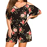 HLHN Women Jumpsuit, Boho Floral Off Shoulder Three Quarter Sleeve Shorts Plus Size Casual Rompers Playsuit Lady