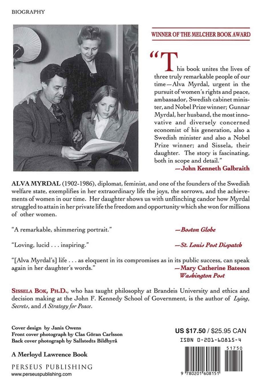 Alva Myrdal A Daughter S Memoir Radcliffe Biography Bok Sissela 9780201608151 Amazon Com Books