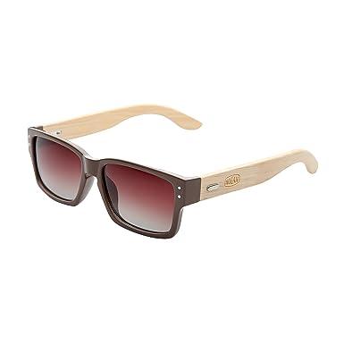 Nolan - Gafas de sol modelo Retro Square Bamboo (Talla Única ...